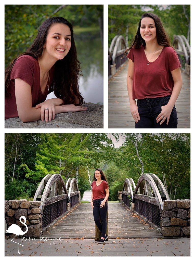 teenage girl high school senior session at Lincoln woods state park in RI posing on bridge