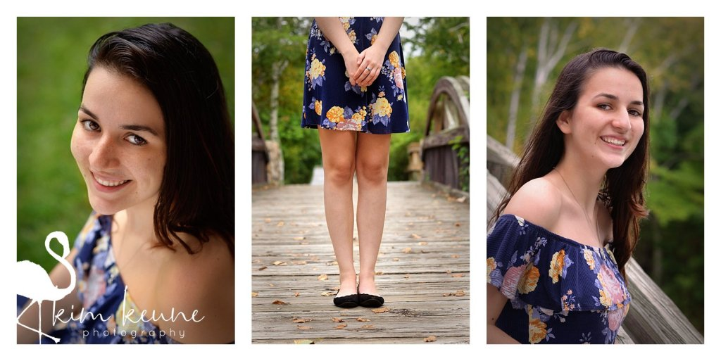 series of girl wearing floral dress and posing along a bridge in Lincoln Woods State Park