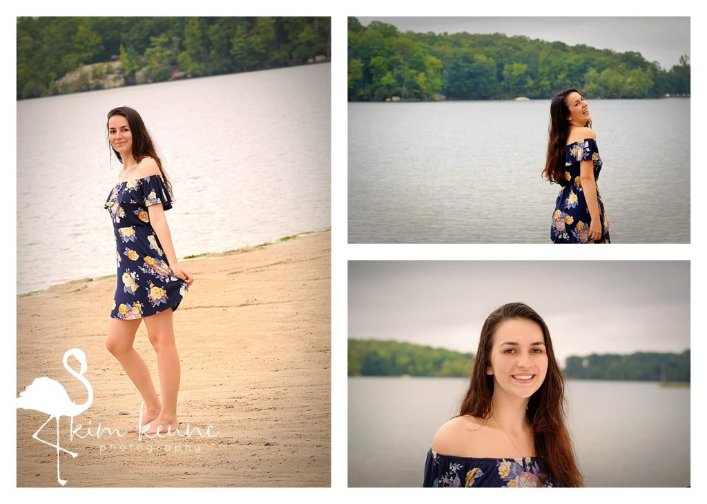 girl in floral dress frolicking on the beach for high school senior session in RI